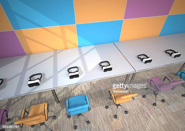 Row of Virtual Reality Glasses in a modern presentation room, 3D Rendering