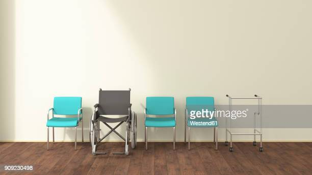 Row of wheelchair, wheeled walker and chairs in a waiting room, 3D rendering