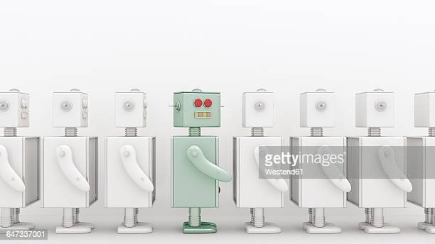 row of white robots with a coloured one in between, 3d rendering - following stock illustrations