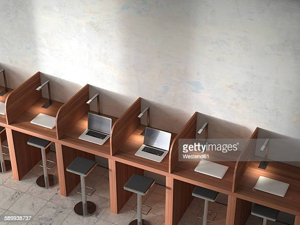 Row of work places with laptops, 3D Rendering