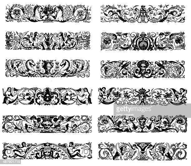 row ornaments in baroque style - embellishment stock illustrations