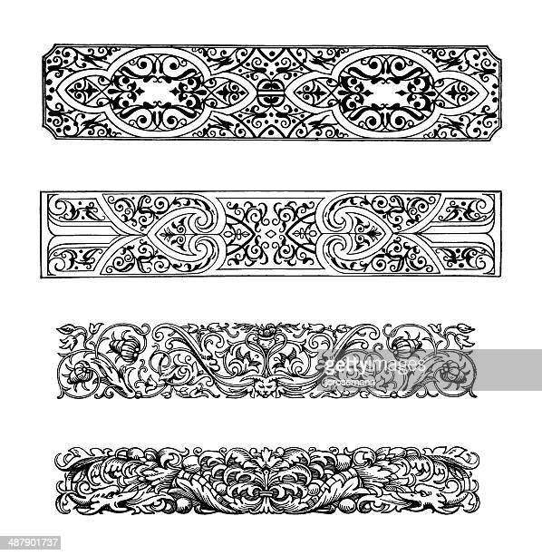 row ornaments in baroque style - classical architectural style stock illustrations, clip art, cartoons, & icons
