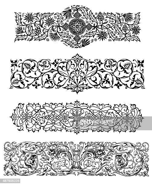 row ornaments in renaissance style - embellishment stock illustrations