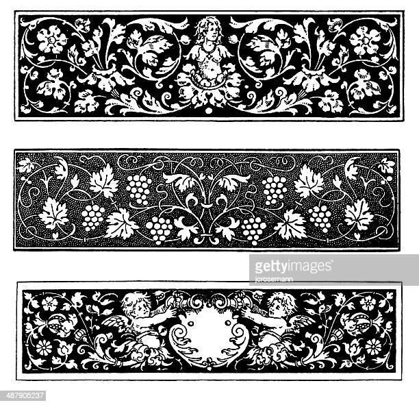 row ornaments in renaissance style - embellishment stock illustrations