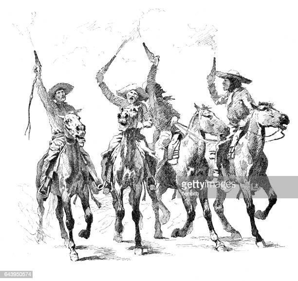 rowdy cowboys - horseback riding stock illustrations, clip art, cartoons, & icons