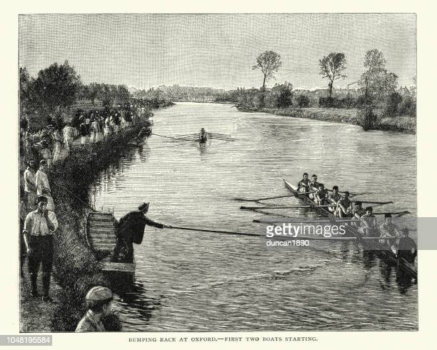 Rowing, Bumping race at Oxford, 19th Century