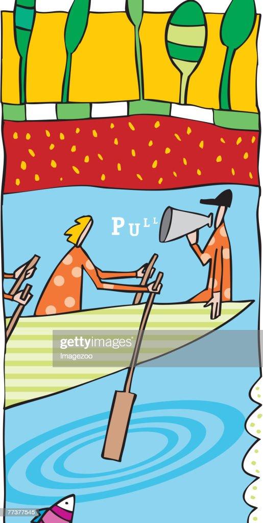 Rowing team : Illustration