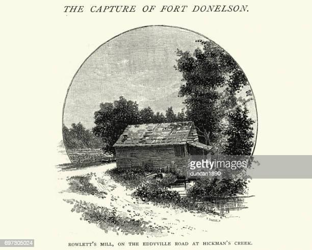 rowlett's mill, dover, tennessee, 19th century - american civil war battle stock illustrations