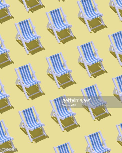 rows of beach chairs on yellow ground, 3d rendering - colored background stock illustrations
