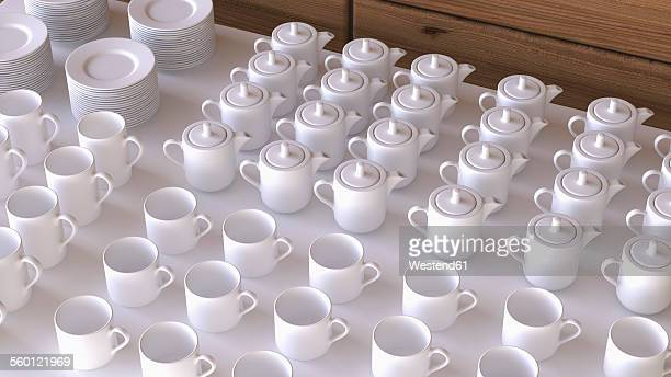 Rows of white coffee cups and coffee pots, 3D Rendering