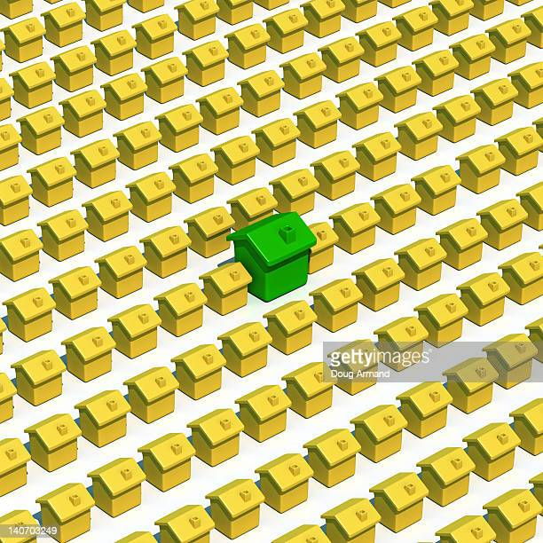 Rows of yellow model houses