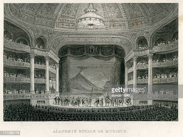 academie royale du musique, paris - classical theater stock illustrations, clip art, cartoons, & icons