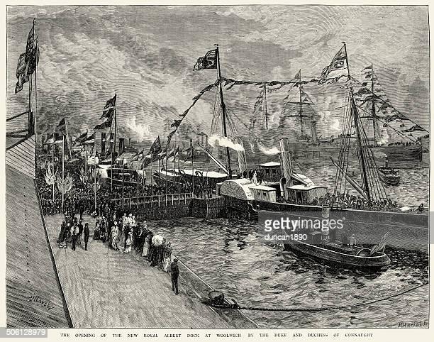 royal albert dock at woolwich - promenade stock illustrations, clip art, cartoons, & icons