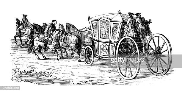 royal carriage - horsedrawn stock illustrations, clip art, cartoons, & icons