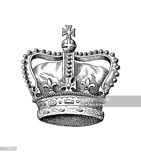 royal crown of the united kingdom | historic monarchy symbols - queen royal person stock illustrations
