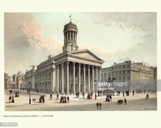 royal exchange, queen street, glasgow, scotland 19th century - vintage stock stock illustrations