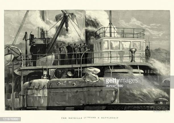 バットルテシップの橋の上でレヴェイユを演奏するイギリス海軍のバグラー - 英国海軍点のイラスト素材/クリップアート素材/マンガ素材/アイコン素材