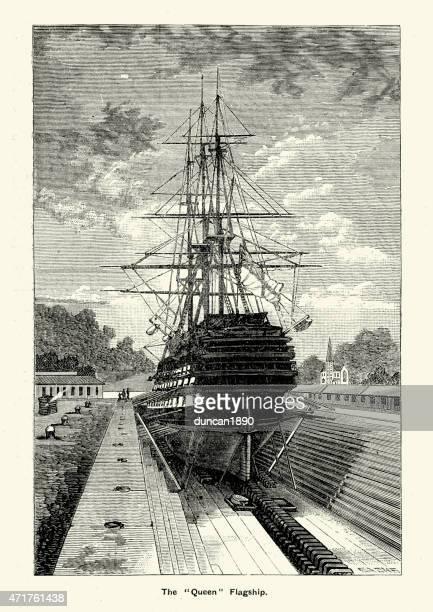 royal navy hms queen in dry dock - us navy stock illustrations
