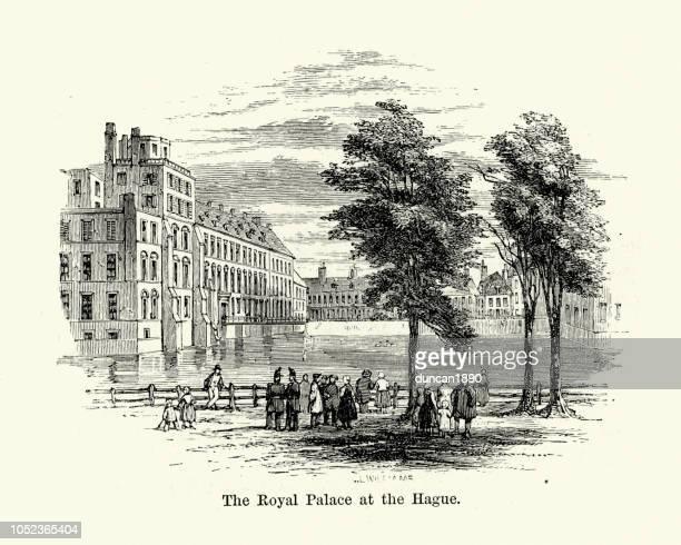 royal palace at the hague, 19th century - noordeinde palace stock illustrations
