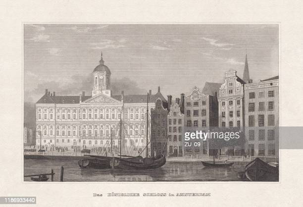 royal palace of amsterdam, netherlands, steel engraving, published in 1857 - royal palace amsterdam stock illustrations