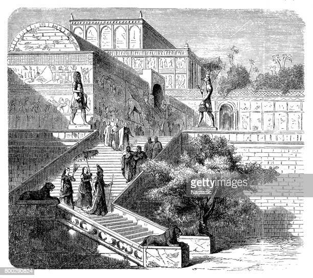 royal palace of assyria, nineveh (reconstruction) - ninawa stock illustrations