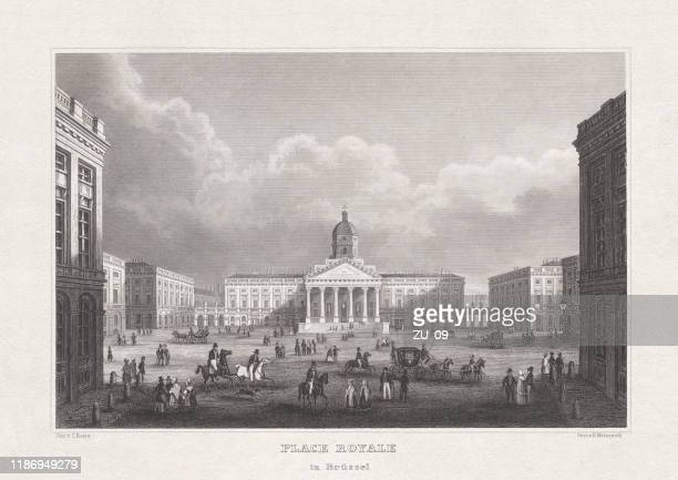 royal palace of brussels, belgium, steel engraving, published in 1857 - royal palace brussels stock illustrations