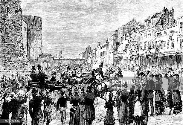 royal procession in windsor - windsor castle stock illustrations