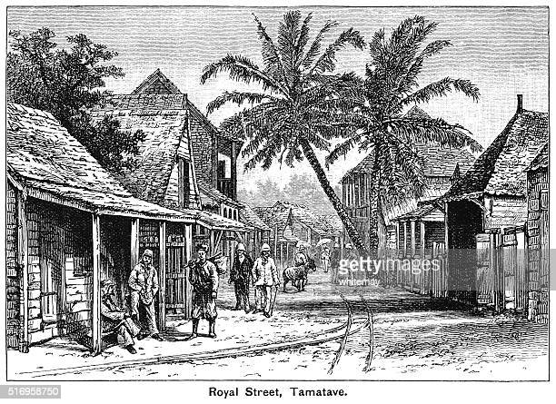 royal street, tamatave - madagascar stock illustrations, clip art, cartoons, & icons