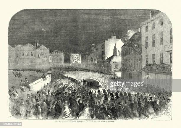 royal wedding of victoria princess royal and prince frederick william of prussia, 1858 - windsor england stock illustrations
