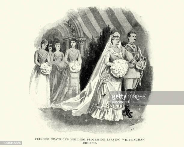 royal wedding, princess beatrice and prince henry of battenberg - battenburg stock illustrations