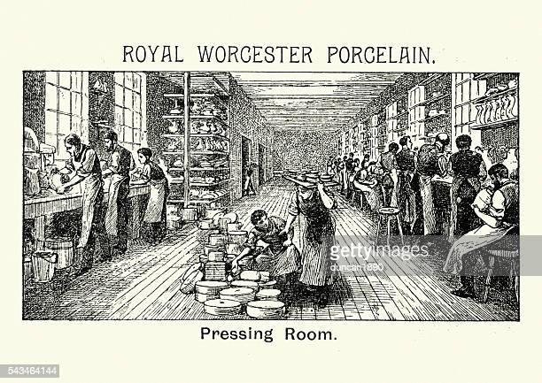 royal worcester porcelain - pressing room - pottery stock illustrations, clip art, cartoons, & icons