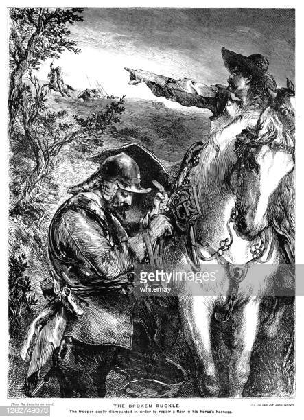 royalist soldier mending a horse's harness buckle during an english civil war battle - army helmet stock illustrations
