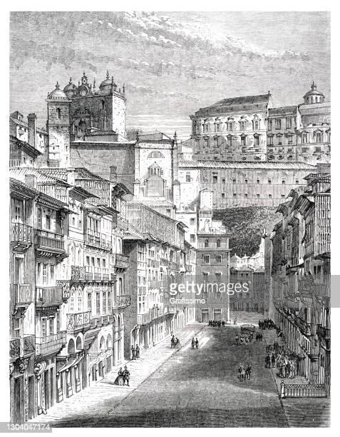 rua nova dos ingleses in porto portugal 1861 - rua stock illustrations