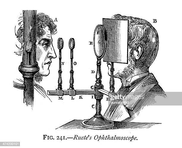 ruete's ophthalmoscope - ophthalmology stock illustrations, clip art, cartoons, & icons