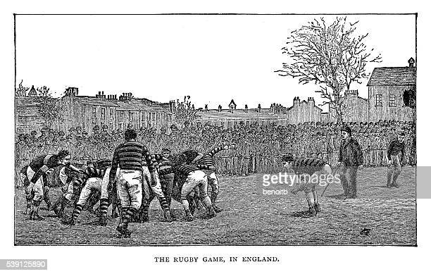rugby game - competitive sport stock illustrations, clip art, cartoons, & icons