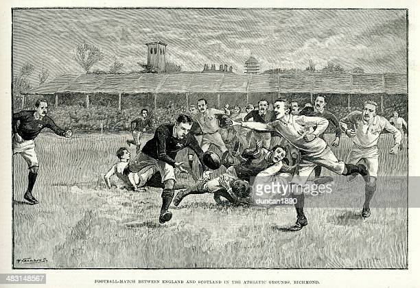 rugby match between england and scotland - sports team stock illustrations, clip art, cartoons, & icons