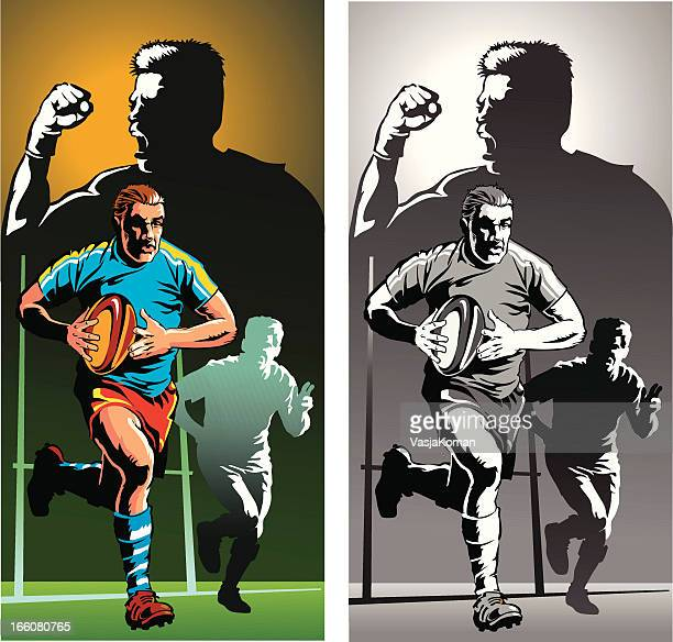 Rugby Player in Action - Color and Monochrome