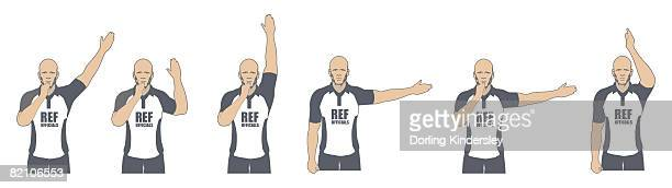 rugby referee signalling penalty kick, free kick, try and penalty kick, advantage, scrum awarded, knock on - 笛点のイラスト素材/クリップアート素材/マンガ素材/アイコン素材