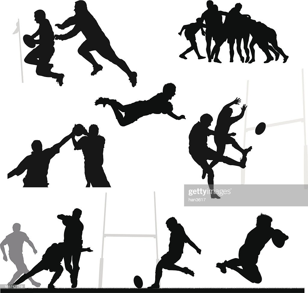 Rugby silhouette montage