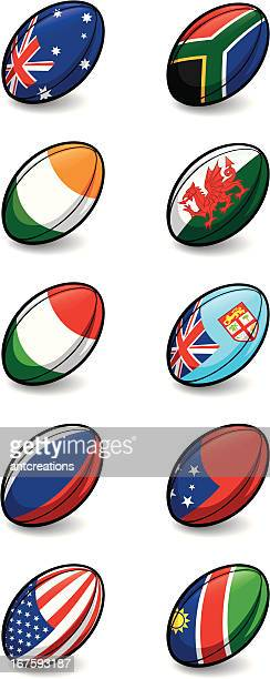 rugby world cup 2011 team balls pool c and d - rugby ball stock illustrations, clip art, cartoons, & icons