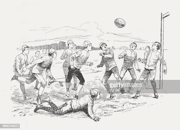 "rugby-match, from ""tom brown's school days"" (1857), published around 1895 - match sport stock illustrations, clip art, cartoons, & icons"
