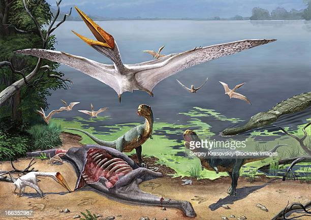 Rugops primus dinosaurs and Alanqa pterosaurs mortify a dead carcass.