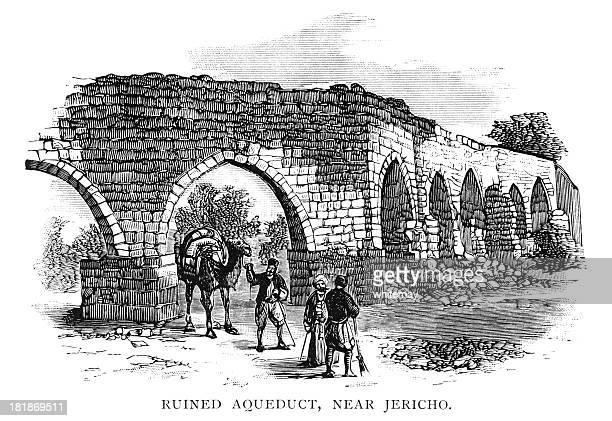 ruined aqueduct near jericho - aqueduct stock illustrations, clip art, cartoons, & icons