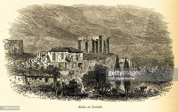 ruins at corinth, greece (antique wood engraving) - classical greek style stock illustrations
