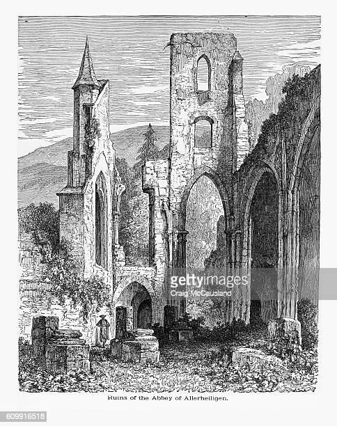 ドイツ・アレルハイリゲンのアレルヘイリゲン修道院の遺跡 1887年頃 - 16世紀のスタイル点のイラスト素材/クリップアート素材/マンガ素材/アイコン素材