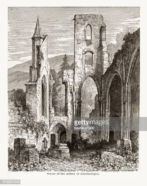 1887 年頃アラーハイリゲン アラーハイリゲン、ドイツの修道院の遺跡 - 16世紀点のイラスト素材/クリップアート素材/マンガ素材/アイコン素材