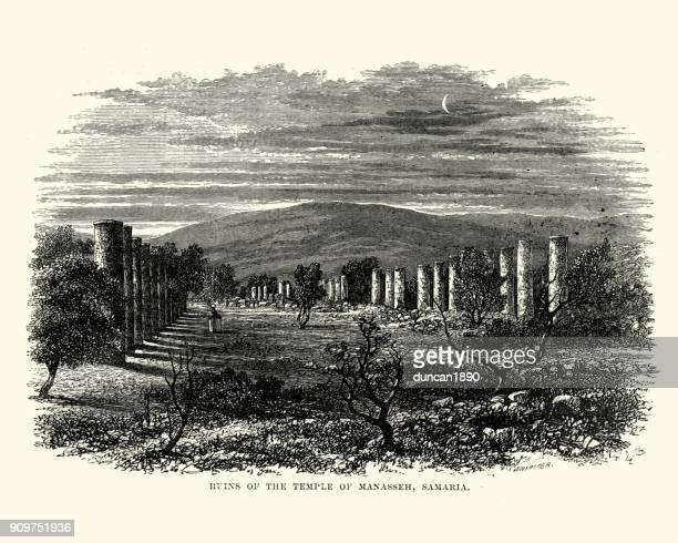 ruins of ancient temple at samaria - greek islands stock illustrations, clip art, cartoons, & icons