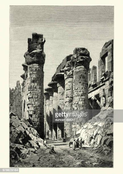 ruins of ancient thebes, egypt - thebes egypt stock illustrations