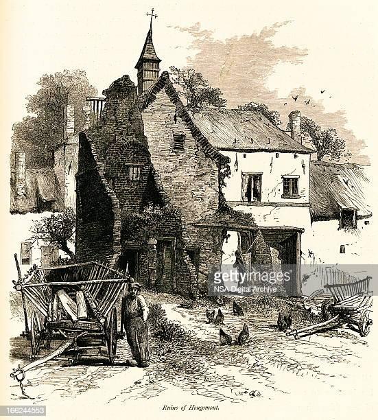 ruins of hougoumont, belgium (antique wood engraving) - waterloo belgium stock illustrations