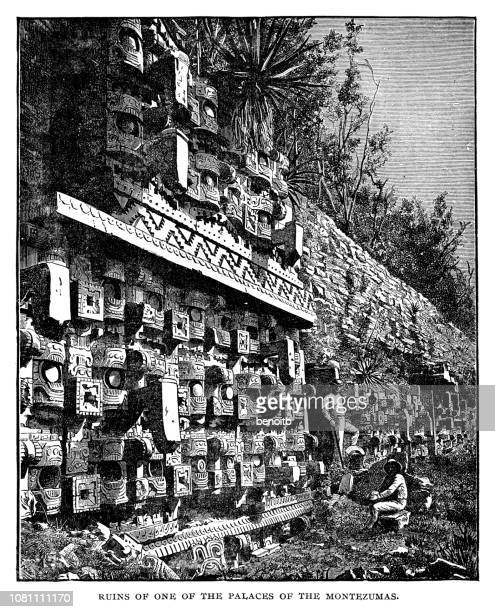 ruins of one of the palaces of the montezumas in mexico - archaeology stock illustrations